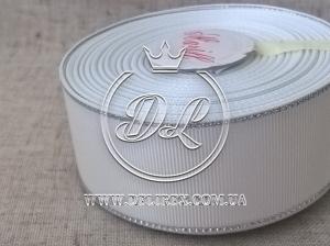 Репс с люрексом 4 см (серебро), белый