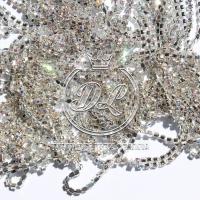 Цепочка-страза серебро  ПЕРЛАМУТР  (#6)