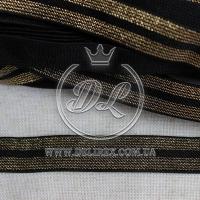 Резинка с люрексом 2 см,  черная с золотом-12 м.