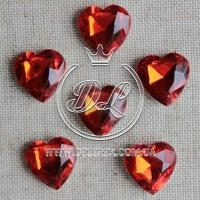 С-ка сердце Бриллиант 16 мм, красное-250 шт.