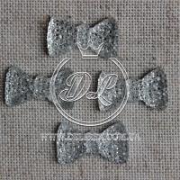 Серединка бантик пупер 2 см , серебро ( 250 шт)