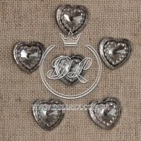 С-ка сердце огранка 16 мм , серебро -250 шт.