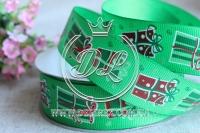 Репс 2.5 см новогодняя, подарок на зеленом