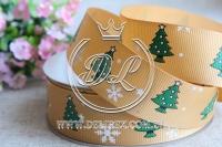 Репс 2.5 см новогодняя, елочка на золотом