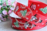 Репс 2.5 см новогодняя , Дед мороз на красном