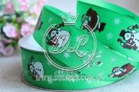 Репс 2.5 см новогодняя , Дед мороз на зеленом