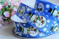 Репс 2.5 см новогодняя , снеговик на синем