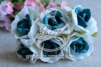 Роза тканевая 2 см, бело-бирюзовая