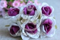 Роза тканевая 2 см, бело-фиолетовая