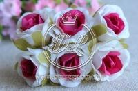 Роза тканевая 2 см, бело-малиновая