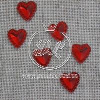С-ка  сердечко-стекляшка -мини 10 мм, красное - 2000 шт.