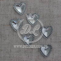 С-ка  сердечко-стекляшка -мини 10 мм, серебро- 2000 шт.