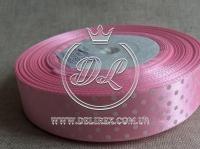 Атлас в Горох 0,9 см, светло-розовый