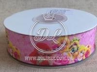"""Репс 2.5 см """"Принцессы R8-///""""  на светло-розовом"""