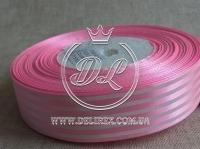 """Атлас 2.5 см """"Полоса"""", розовый"""