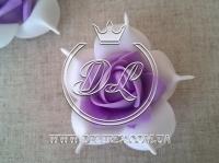 Бутоны роз  # 005 - 7 см , бело-фиолетовые