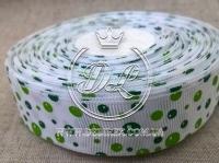 """Репс 2.5 см """"Пузырьки"""", зелёные на белом"""