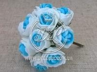 Роза  # 11007 -3 см, бело-голубая