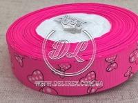 "Репс 2.5 см  ""Бантик"" , на ярко-розовом"