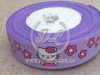 """Репс 2.5 см """"Kitty + цветок"""" , на светло-фиолетовом"""