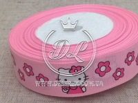 "Репс 2.5 см ""Kitty + цветок"" , на розовом"