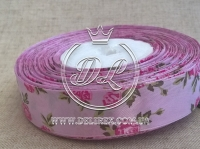"Атлас 2.5 см ""Розочка"", розовая на фиолетовом"