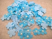 Цветок с полубусиной -голубой