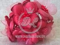 Цветок с органзой TF 975 , красный