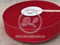 Репс с люрексом 2.5 см (серебро), темно-красный