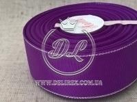 Репс с люрексом 4 см (серебро), темно-фиолетовый
