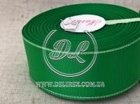 Репс с люрексом 4 см (серебро), зелёный