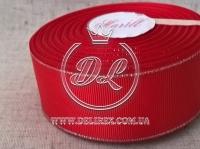 Репс с люрексом 4 см (серебро), красный