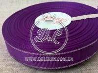 Репс с люрексом 1.5 см (серебро), темно-фиолетовый