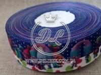 Репс 2.5 см Тролли на на бело-фиолетовом
