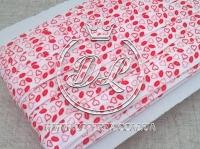 Бейка  1.5 см, сердечка красные на белом
