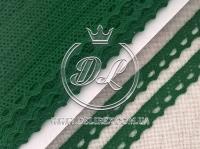 Кружево вязаное 1.1 см, темно-зелёное