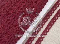Кружево вязаное 1.1 см, бордовое
