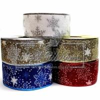 Лента новогодняя мешковина Снежинка 6.3 см
