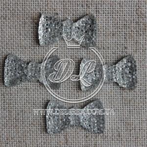 С-ка бантик пупер 1.3 см , серебро ( 1000 шт)