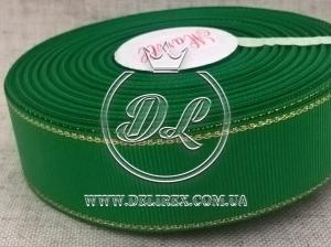 Репс с люрексом 2.5 см (золото), зелёный