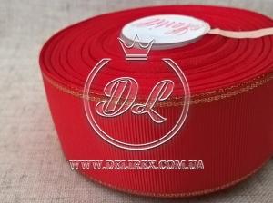 Репс с люрексом 4 см (золото), красный