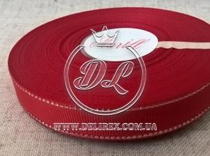 Репс с люрексом 1.5 см (серебро), темно-красный