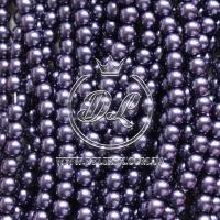 Жемчуг на леске 6 мм,темно- фиолетовый