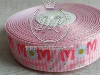 """Репс 2.5 см , """"М """" + ромашка на розовом"""