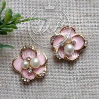 С-ка метал Цветок с жемчужиной ,розовый