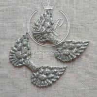 """Апликации """"Крылья"""", серебро  -100 шт."""