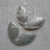 "Апликаци эко-глиттер "" Ушки"" большие,серебро  (24 шт.)"