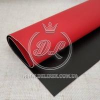 Экокожа гладкая, черная + красная Д/ C  *