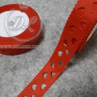 Репс 2.5 см Сердечка перфорированные, красные
