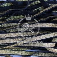 Резинка 1 см с люрексом, золото (на черном) - 12 м.
